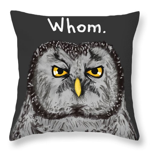 Owl Throw Pillow featuring the painting Grammar Owl Is Judging You by Dan Pearce