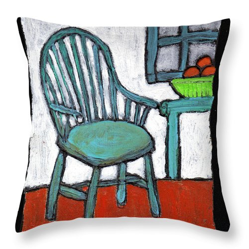 Chair Throw Pillow featuring the painting Grampa's Empty Chair by Wayne Potrafka