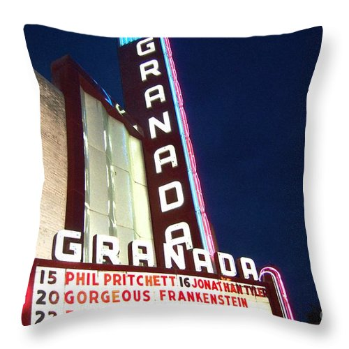 Music Throw Pillow featuring the photograph Granada Theater by Debbi Granruth