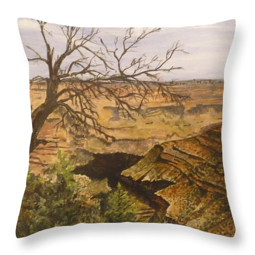 Landscape Throw Pillow featuring the painting Grand Canyon by Betty-Anne McDonald
