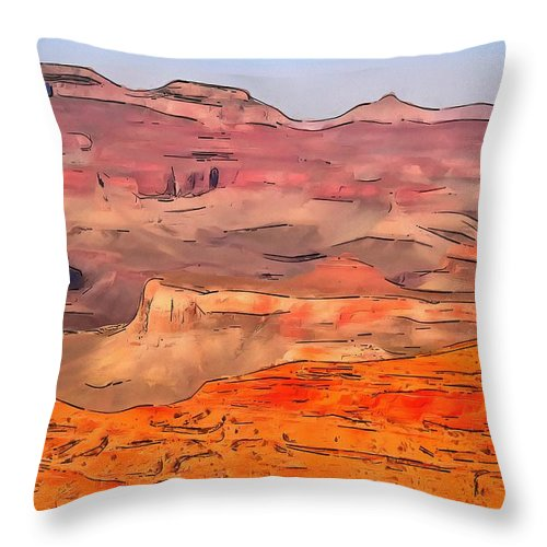 Grand Canyon National Park Summer Throw Pillow featuring the digital art Grand Canyon National Park Summer by Dan Sproul