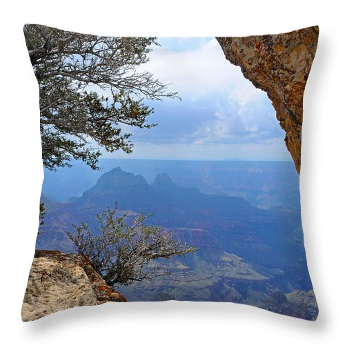 Grand Canyon North Rim Throw Pillow featuring the photograph Grand Canyon North Rim Window in the Rock by Victoria Oldham