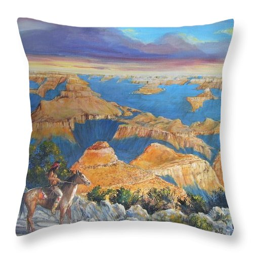 Grand Canyon Throw Pillow featuring the painting Grand Canyon Visitors At Sunrise by Perrys Fine Art