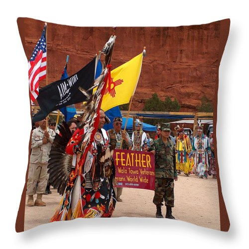Pow-wow Throw Pillow featuring the photograph Grand Entry At Star Feather Pow-wow by Tim McCarthy