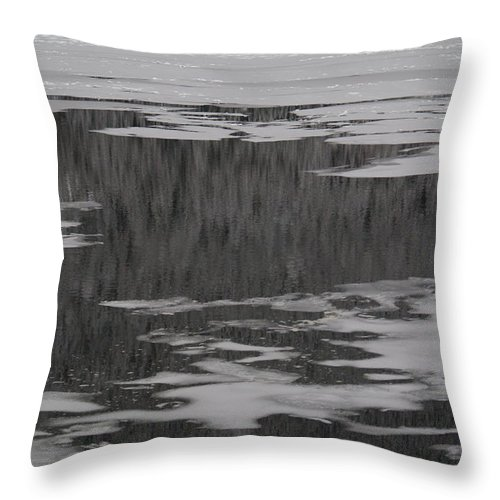 Grand Lake Throw Pillow featuring the photograph Grand Lake Evergreen Reflection On Ice I by Jacqueline Russell