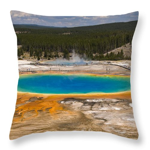 Grand Prismatic Spring Throw Pillow featuring the photograph Grand Prismatic Spring by Chad Davis