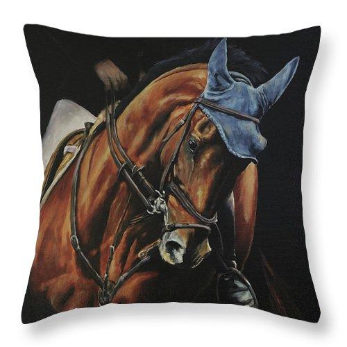 Joan Frimberger Throw Pillow featuring the painting Grand Prix Jumper by Joan Frimberger
