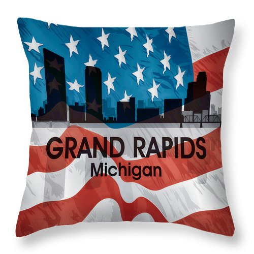 Throw Pillow featuring the mixed media Grand Rapids Mi American Flag Squared by Angelina Tamez
