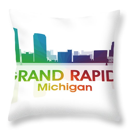 Grand Rapids Throw Pillow featuring the mixed media Grand Rapids Mi by Angelina Tamez
