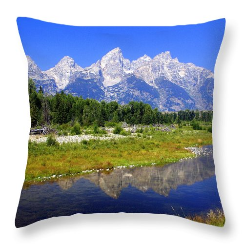 Grand Teton National Park Throw Pillow featuring the photograph Grand Tetons by Marty Koch