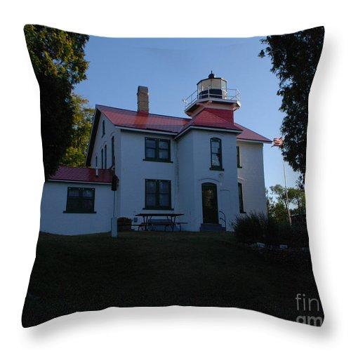 Lighthouse Throw Pillow featuring the photograph Grand Traverse Light House by Grace Grogan