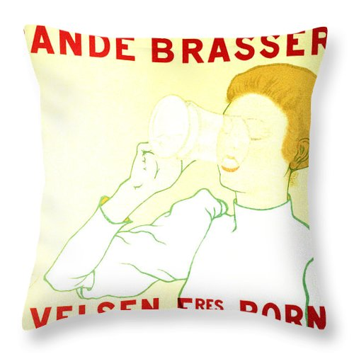 Vintage Throw Pillow featuring the mixed media Grande Brasserie - Bornhem, Belgium - Vintage Advertising Poster by Studio Grafiikka