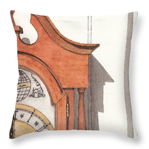 Watercolor Throw Pillow featuring the painting Grandfather Clock by Ken Powers