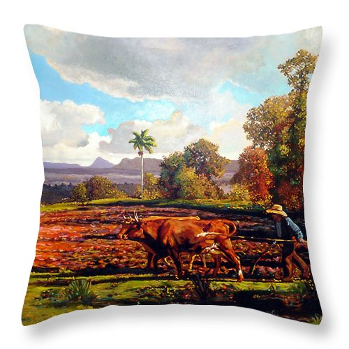 Cuban Art Throw Pillow featuring the painting Grandfather Farm by Jose Manuel Abraham