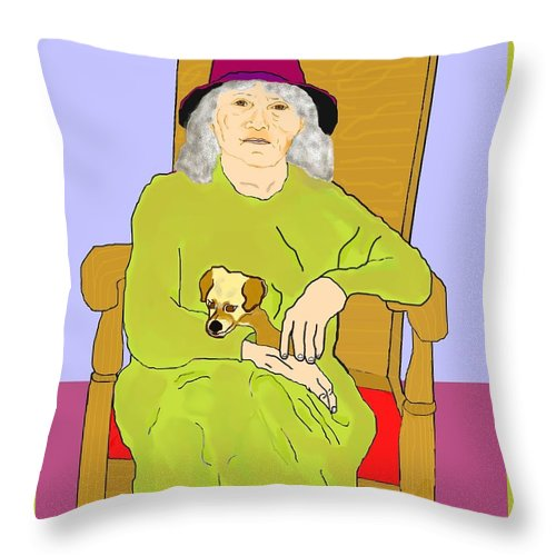 Grandmother Throw Pillow featuring the painting Grandma And Puppy by Pharris Art