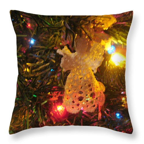 Christmas Throw Pillow featuring the photograph Grandmas Christmas Angel by Susan Kubes
