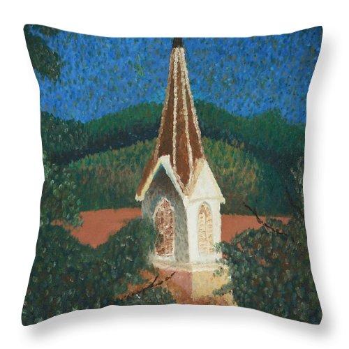 Grandma's Church Throw Pillow featuring the painting Grandmas Church by Jacqueline Athmann