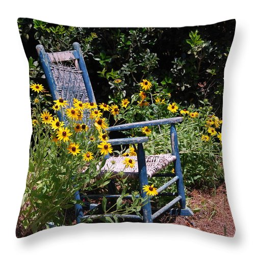 Rocking Chair Throw Pillow featuring the photograph Grandma's Rocking Chair by Susanne Van Hulst