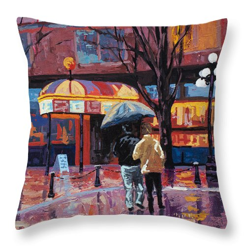 Vancouver Throw Pillow featuring the painting Grandville Couple by Marion Rose