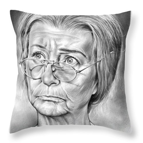 Irene Ryan Throw Pillow featuring the drawing Granny by Greg Joens