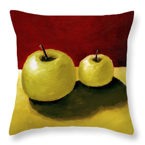 Apple Throw Pillow featuring the painting Granny Smith Apples by Michelle Calkins