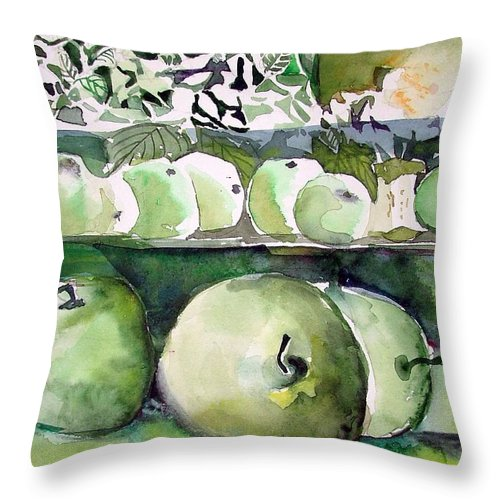 Apple Throw Pillow featuring the painting Granny Smith Apples by Mindy Newman