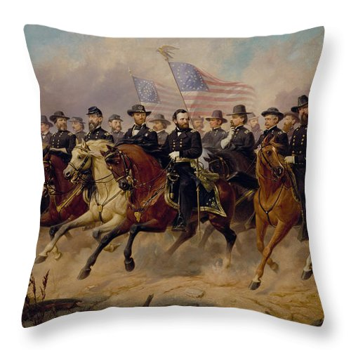 Grant Throw Pillow featuring the painting Grant and His Generals by War Is Hell Store