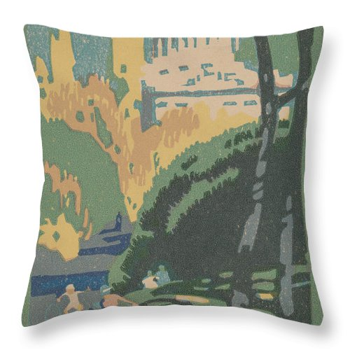 Throw Pillow featuring the drawing Grant's Tomb by Rachael Robinson Elmer