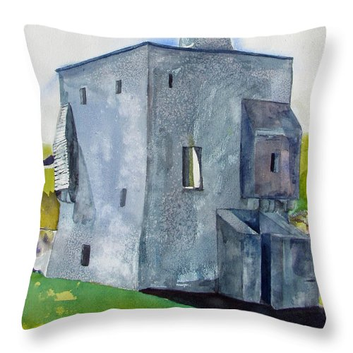 Throw Pillow featuring the painting Granuaile's Castle Behind The Hill by Kathleen Barnes