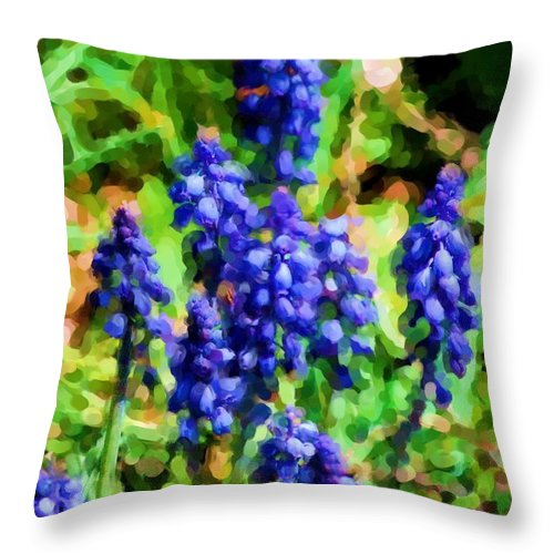 Grape Hyacinths Throw Pillow featuring the photograph Grape Hyacinths by David Lane
