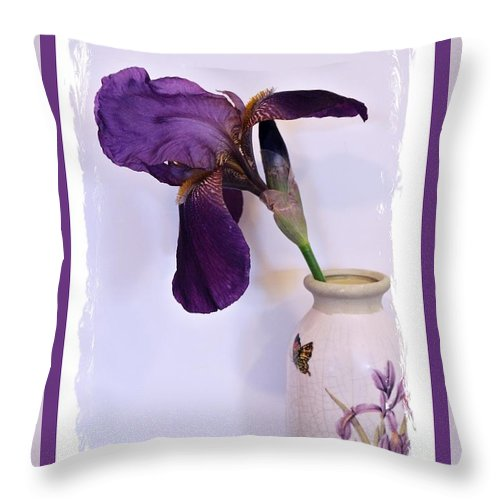 Photo Throw Pillow featuring the photograph Grape Iris In A Vase by Marsha Heiken