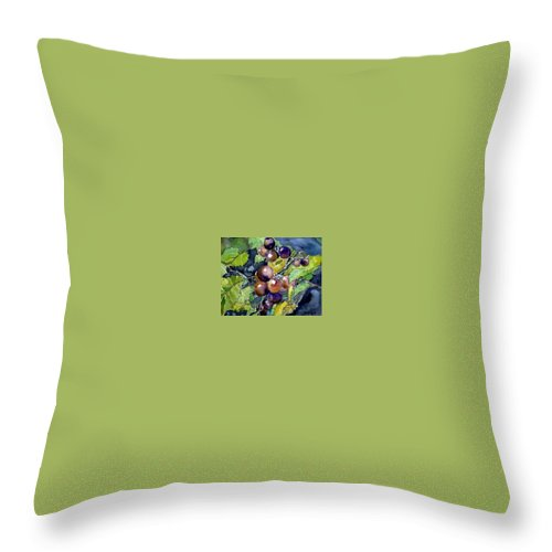 Grape Throw Pillow featuring the painting Grape Vine Still Life by Derek Mccrea