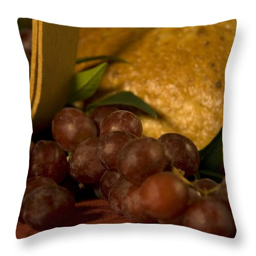 Fruit Throw Pillow featuring the photograph Grapes And Bread by Jessica Wakefield