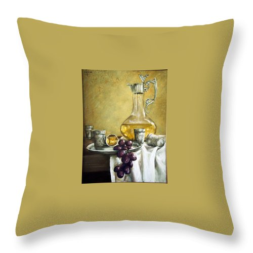 Still Life Cristal Bottle Grapes Fruits Glass Throw Pillow featuring the painting Grapes And Cristals by Natalia Tejera