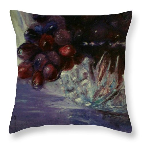 Still Life Throw Pillow featuring the painting Grapes And Glass by Stephen King