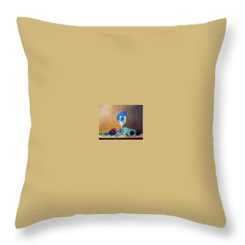 Wine Galsses With Grapes Throw Pillow featuring the painting Grapes And Plums by Susan Dehlinger