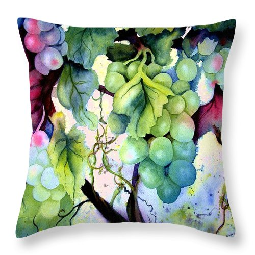 Grapes Throw Pillow featuring the painting Grapes II by Karen Stark