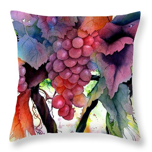 Grape Throw Pillow featuring the painting Grapes IIi by Karen Stark