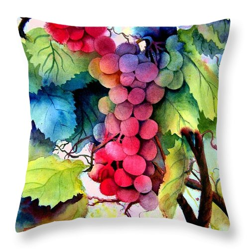 Grapes Throw Pillow featuring the painting Grapes by Karen Stark