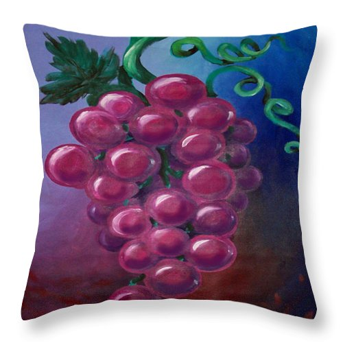 Grape Throw Pillow featuring the painting Grapes by Kevin Middleton
