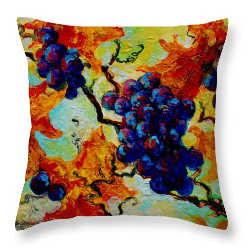 Grapes Throw Pillow featuring the painting Grapes Mini by Marion Rose