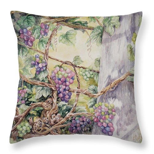 Vines Throw Pillow featuring the painting Grapevine Laurel Lakevineyard by Valerie Meotti