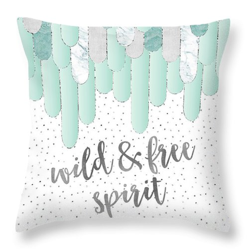 Life Motto Throw Pillow featuring the digital art Graphic Art Feathers Wild And Free Spirit - Mint by Melanie Viola