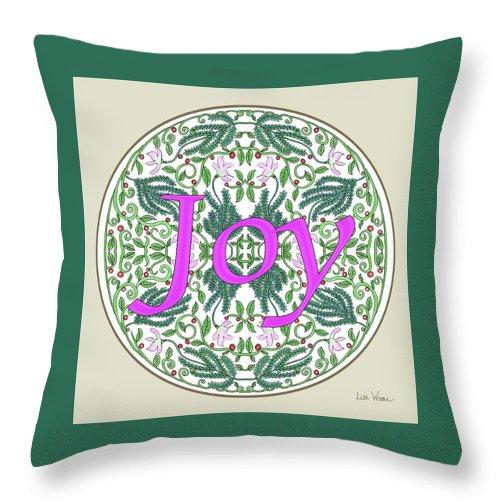 Joy Throw Pillow featuring the digital art Graphic Designs Button Joy by Lise Winne