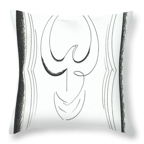 Graphics Throw Pillow featuring the drawing Graphiks by Ira Mizkevish