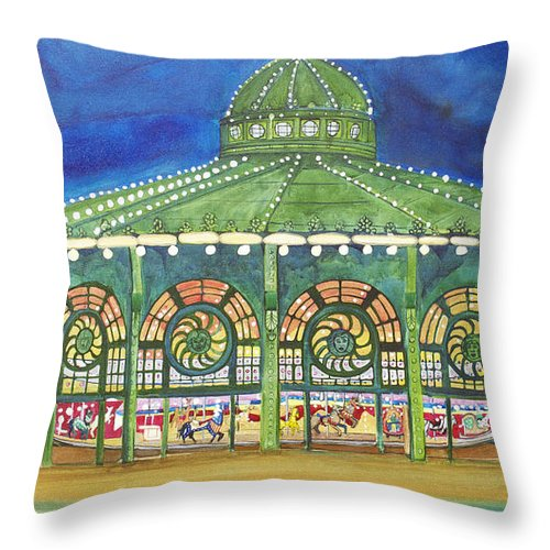 Night Paintings Of Asbury Park Throw Pillow featuring the painting Grasping The Memories by Patricia Arroyo