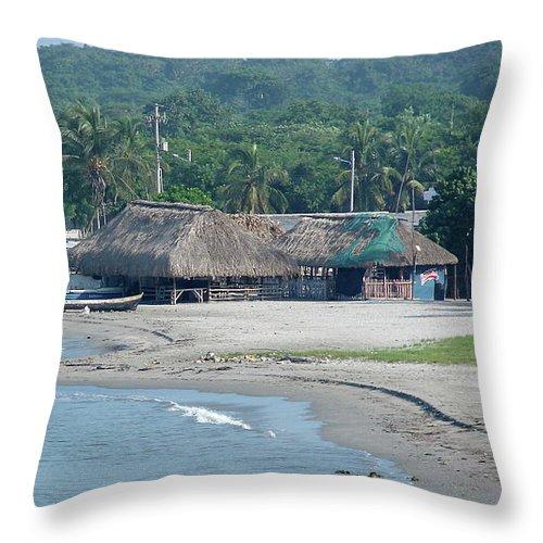 Grass Throw Pillow featuring the photograph Grass Huts Colombia by Brett Winn
