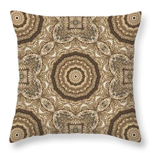 Kaleidoscope Throw Pillow featuring the photograph Grass Seed Crocheted Doily by M E Cieplinski