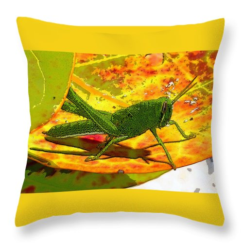 Art Throw Pillow featuring the painting Grasshopper by David Lee Thompson