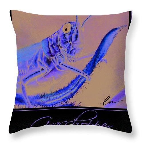 Grasshopper Throw Pillow featuring the painting Grasshopper Poster by Cindy D Chinn
